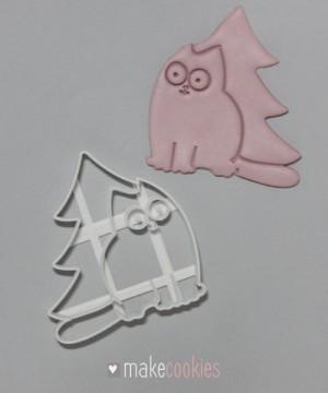 Кот с елкой - 9х8 см